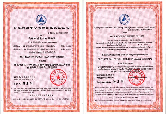 职业健康安 全管理体系认证证书
